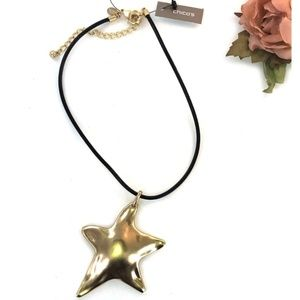 Chicos Gold Star Pendant Choker Necklace